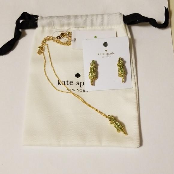 kate spade Jewelry - Kate Spade Swamped Alligator Necklace & Earrings